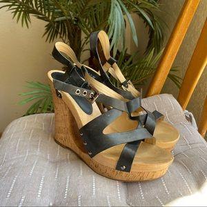 Guess Cork Wedge Sandals Black Open Toe 9